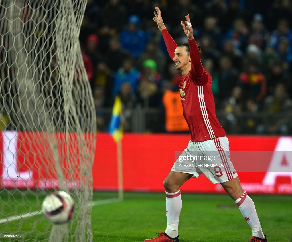 Manchester United's Swedish striker Zlatan Ibrahimovic celebrates after scoring a goal during the UEFA Europa League round of 16 football match between Rostov and Manchester United at Olimp-2 Arena in Rostov-on-Don on March 9, 2017. PHOTO / Alexander NEMENOV