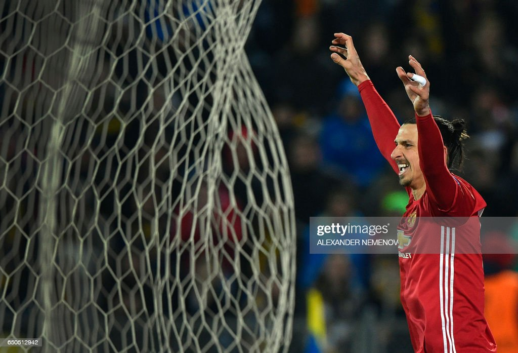 TOPSHOT - Manchester United's Swedish striker Zlatan Ibrahimovic celebrates after scoring a goal during the UEFA Europa League round of 16 football match between Rostov and Manchester United at Olimp-2 Arena in Rostov-on-Don on March 9, 2017. PHOTO / Alexander NEMENOV