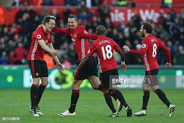 Manchester United's Swedish striker Zlatan Ibrahimovic celebrates scoring his team's second goal during the English Premier League football match...