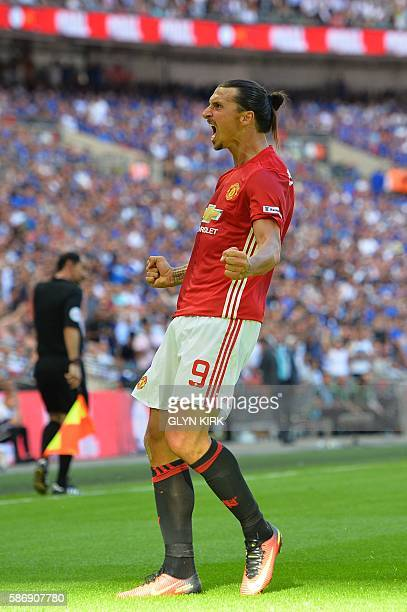 Manchester United's Swedish striker Zlatan Ibrahimovic celebrates scoring their second goal during the FA Community Shield football match between...