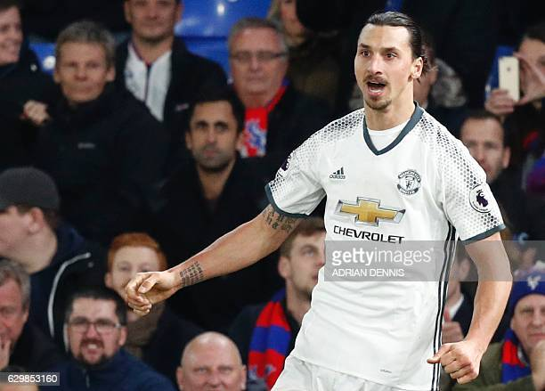 Manchester United's Swedish striker Zlatan Ibrahimovic celebrates scoring their second goal during the English Premier League football match between...