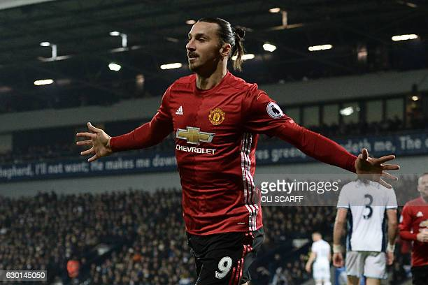 Manchester United's Swedish striker Zlatan Ibrahimovic celebrates after scoring the opening goal of the English Premier League football match between...