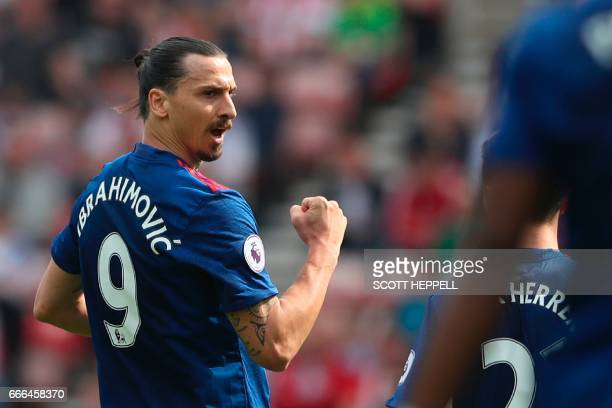 Manchester United's Swedish striker Zlatan Ibrahimovic celebrates scoring the opening goal during the English Premier League football match between...