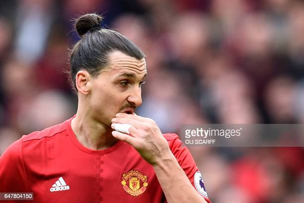 Manchester United's Swedish striker Zlatan Ibrahimovic gestures during the English Premier League football match between Manchester United and...