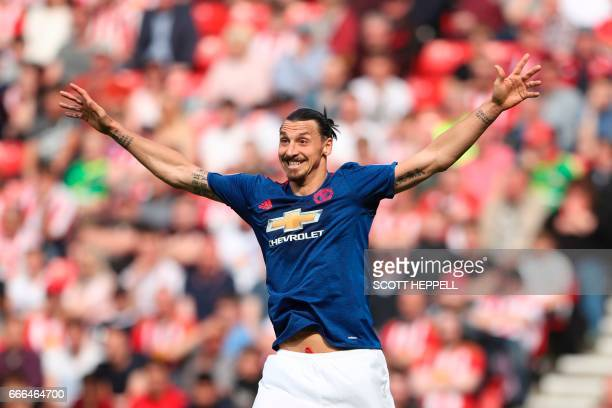 TOPSHOT Manchester United's Swedish striker Zlatan Ibrahimovic gestures during the English Premier League football match between Sunderland and...