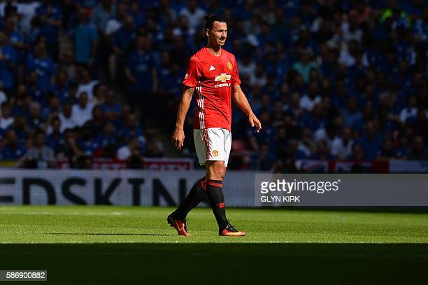 Manchester United's Swedish striker Zlatan Ibrahimovic plays during the FA Community Shield football match between Manchester United and Leicester...