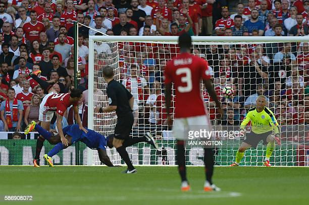 Manchester United's Swedish striker Zlatan Ibrahimovic scores their second goal during the FA Community Shield football match between Manchester...