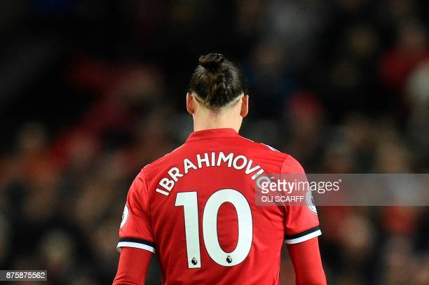 Manchester United's Swedish striker Zlatan Ibrahimovic wears the number 10 shirt during the English Premier League football match between Manchester...