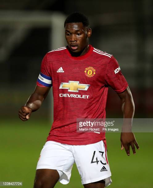 Manchester United's Teden Mengi during the EFL Trophy Northern Group B match at the Peninsula Stadium Salford