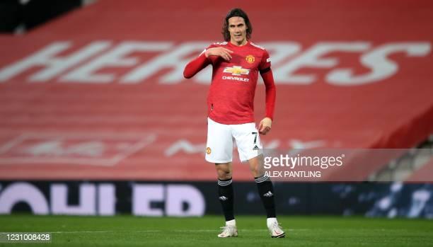 Manchester United's Uruguayan striker Edinson Cavani celebrates scoring his team's first goal during the English Premier League football match...