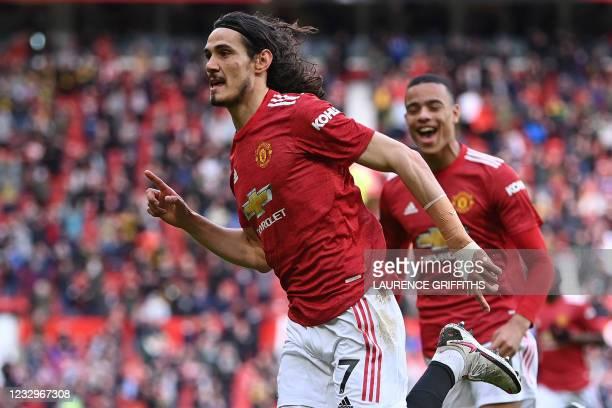 Manchester United's Uruguayan striker Edinson Cavani celebrates scoring the opening goal during the English Premier League football match between...