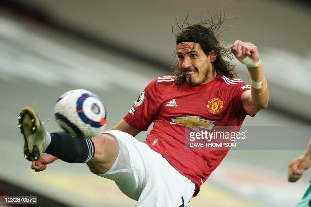 Manchester United's Uruguayan striker Edinson Cavani controls the ball during the English Premier League football match between Manchester United and...