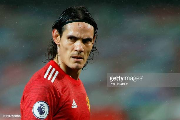 Manchester United's Uruguayan striker Edinson Cavani reacts during the English Premier League football match between Manchester United and Chelsea at...