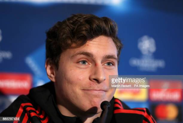 Manchester United's Victor Lindelof during the press conference at the AON Training Complex Carrington