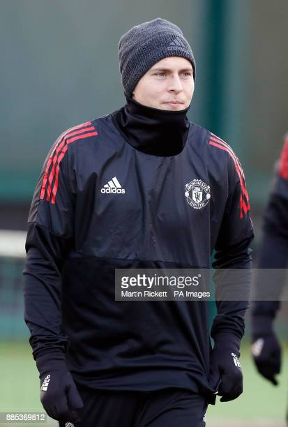 Manchester United's Victor Lindelof during the training session at the AON Training Complex Carrington