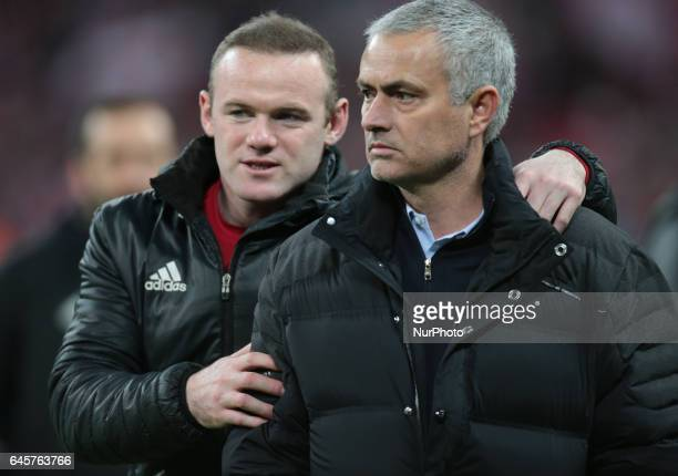 LR Manchester United's Wayne Rooney and Manchester United manager Jose Mourinho during the EFL Cup Match between Manchester United and Southampton on...