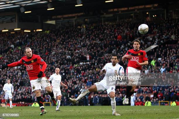 Manchester United's Wayne Rooney has a shot on goal