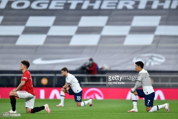 Manchester United's Welsh midfielder Daniel James , Tottenham Hotspur's Welsh defender Ben Davies and Tottenham Hotspur's South Korean striker Son...