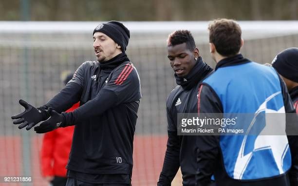 Manchester United's Zlatan Ibrahimovic and Paul Pogba during the training session at the AON Training Complex Carrington