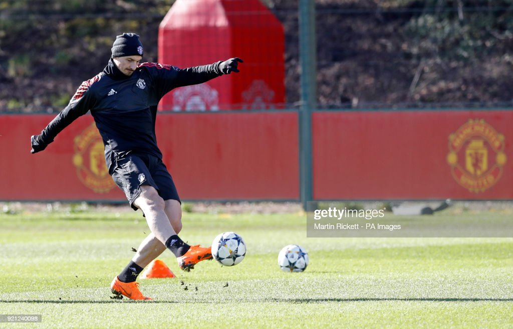 Manchester United's Zlatan Ibrahimovic during the training session at the AON Training Complex, Carrington.