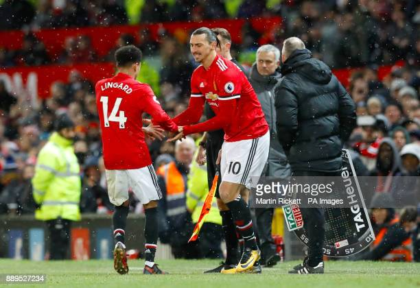 Manchester United's Zlatan Ibrahimovic is substituted on for Manchester United's Jesse Lingard during the Premier League match at Old Trafford...