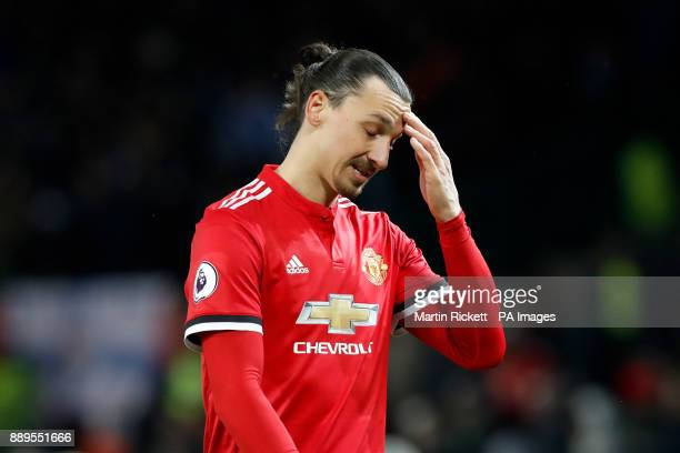 Manchester United's Zlatan Ibrahimovic shows his dejection after the final whistle of the Premier League match at Old Trafford Manchester