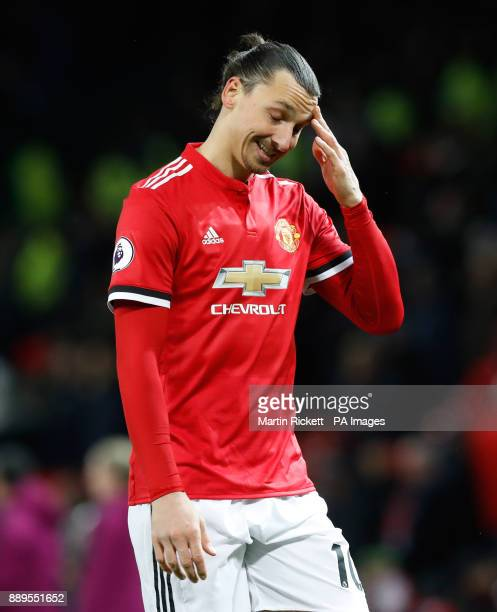 Manchester United's Zlatan Ibrahimovic shows his dejection aftre the final whistle of the Premier League match at Old Trafford Manchester