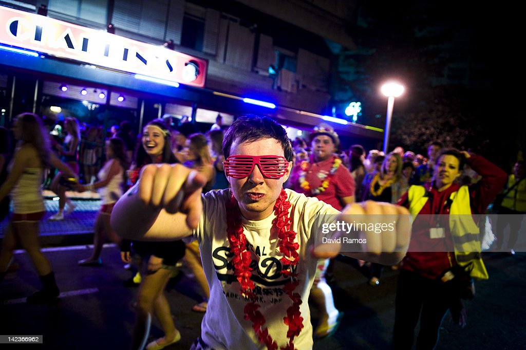 A Manchester University student reacts in front of the camera during the SalouFest on April 2, 2012 in Salou, Spain. Saloufest is a university sports tour attended by thousands of British students taking part in a variety of competitions and parties over the Easter period in the Catalan village of Salou.