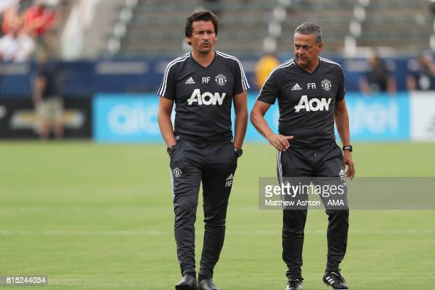 Manchester Untied Assistant manager Rui Faria and coach Ricardo Formosinho during to the friendly fixture between LA Galaxy and Manchester United at...