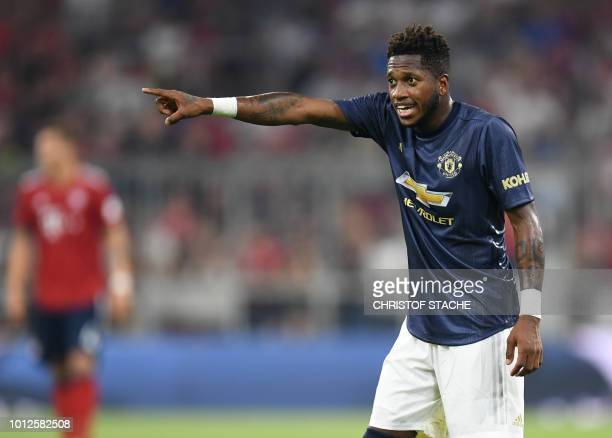 Manchester's Brazilian midfielder Fred plays the ball during during the preseason friendly football match between FC Bayern Munich and Manchester...