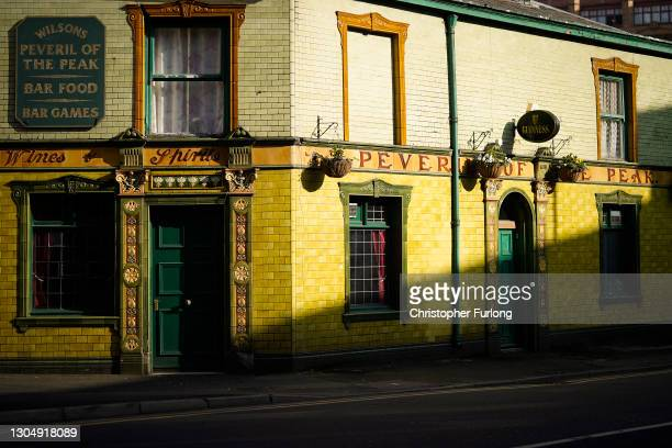 Manchester's Peveril of The Peak pub sits dormant during the pandemic lockdown on March 02, 2021 in Manchester, England. The Chancellor is expected...