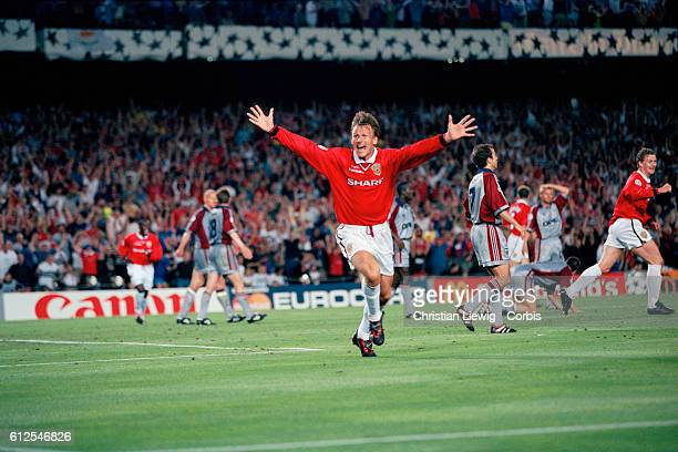 Manchester's Teddy Sheringham celebrates his goal during the 19981999 Champions League final United won the match 21 and it completed an historic...
