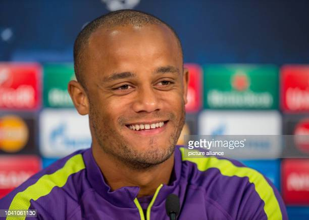 Manchester's Vincent Kompany during a press conference in Munich Germany 16September 2014 FCBayern Munich will play Manchester City in the group...