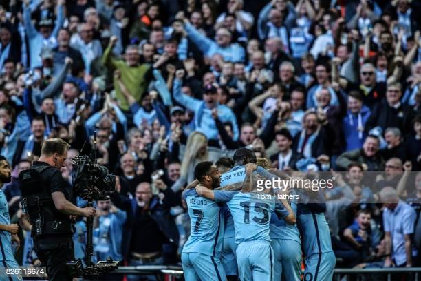 Manchestter City's Sergio Aguero celebrates scoring Arsenal in the FA Cup Semi Final