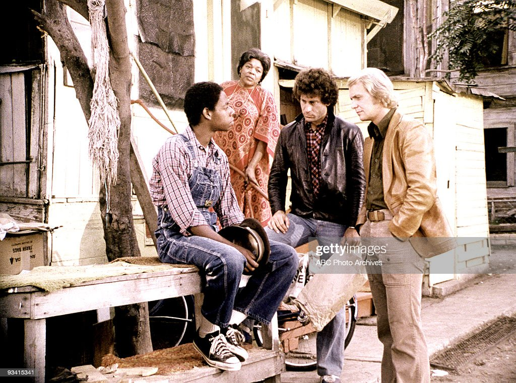 HUTCH - 'Manchild on the Streets' - Season Three - , When the police pursuit of a drunk driver leads to the wrongful shooting death of a friend of Starsky's (Paul Michael Glaser, center), he and Hutch (David Soul, right) must do their best to steer the victim's confused teen-age son, Jackson (guest star J. Jay Saunders), away from a life of crime. Dorothy Meyer is Mrs. Walters.,