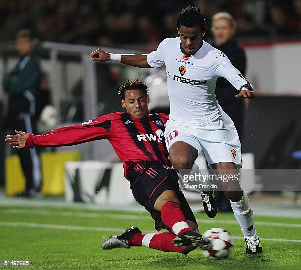 Mancini of Roma is tackled by Jermaine Jones of Leverkusen during The UEFA Champions League match between Bayer Leverkusen and AS Roma at The Bay...