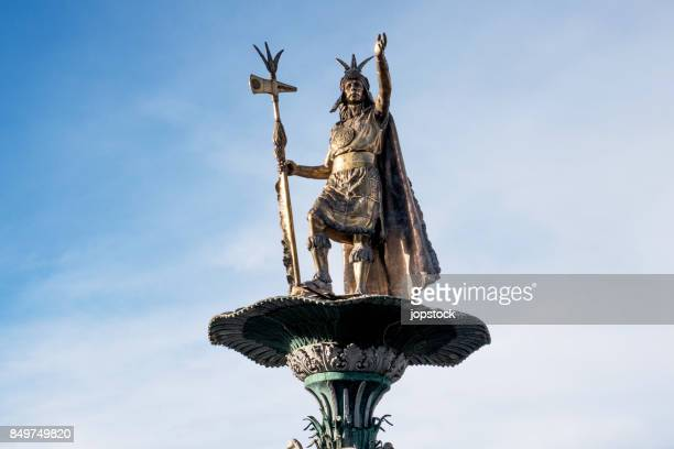 manco capac statue, monument of the inca in cusco, peru - inca stock pictures, royalty-free photos & images