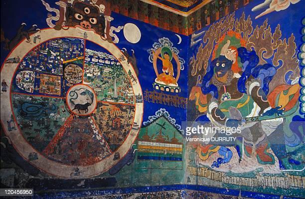 Mandala And Frescoes, Thiksey Monastery, Ladalkh In India.