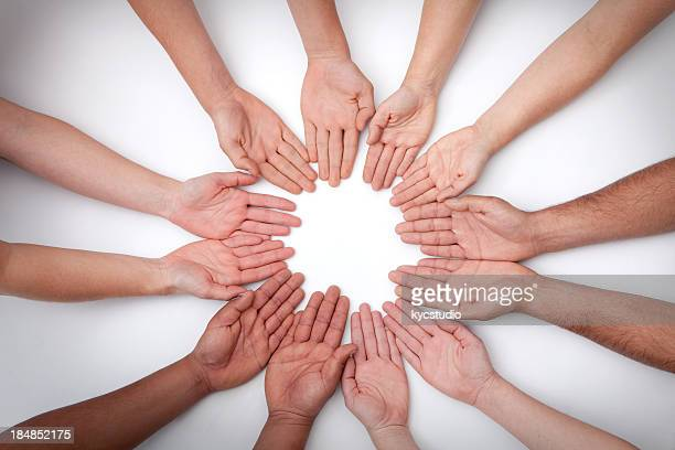 Mandala of 12 Hands Palms Up