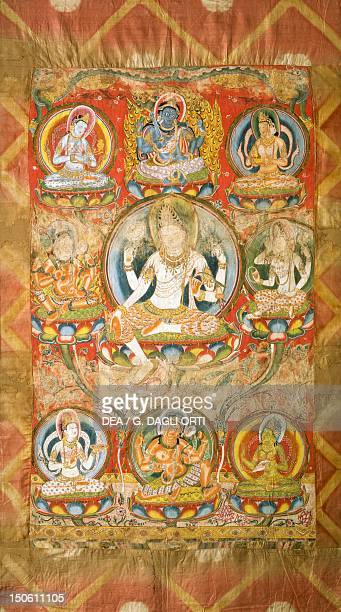 Mandala of the Five-deity Amoghapasha, the infallible laccio, painting on silk from the Mogao Caves in Dunhuang, Gansu Province, China. Chinese...