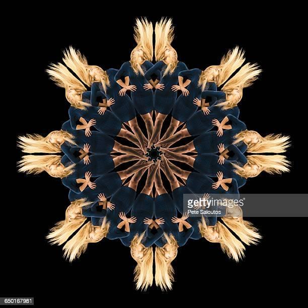 Mandala pattern created by multiple image of teenage girl with long blonde hair