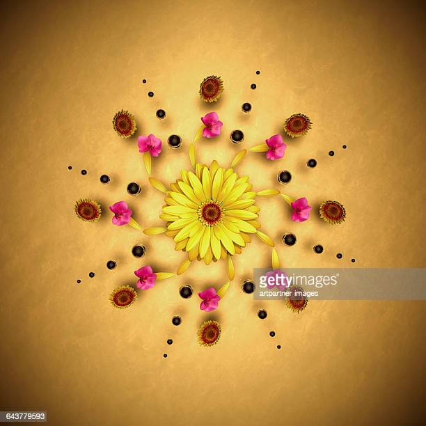 Mandala with flowers and spheres