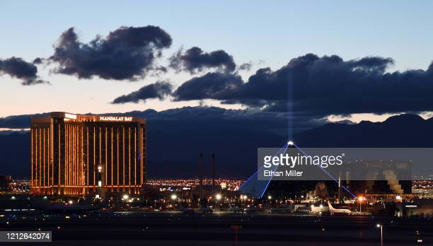 Mandalay Bay Resort and Casino and Luxor Hotel and Casino are shown as the coronavirus continues to spread across the United States on March 15 2020...