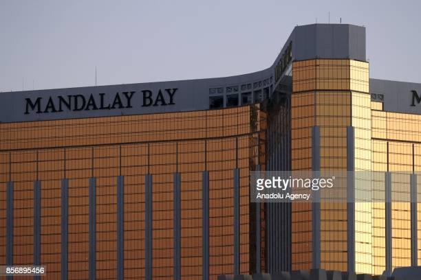 Mandalay Hotel is seen after a gunman attack in Las Vegas NV United States on October 02 2017 At least 59 people were killed and more than 527 others...