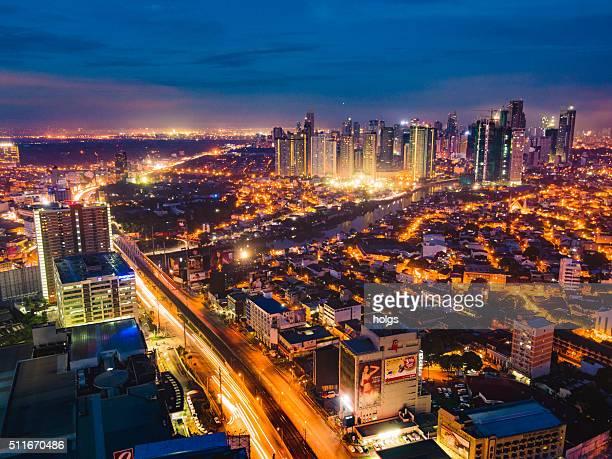 Mandaluyong City and Pasig River at night