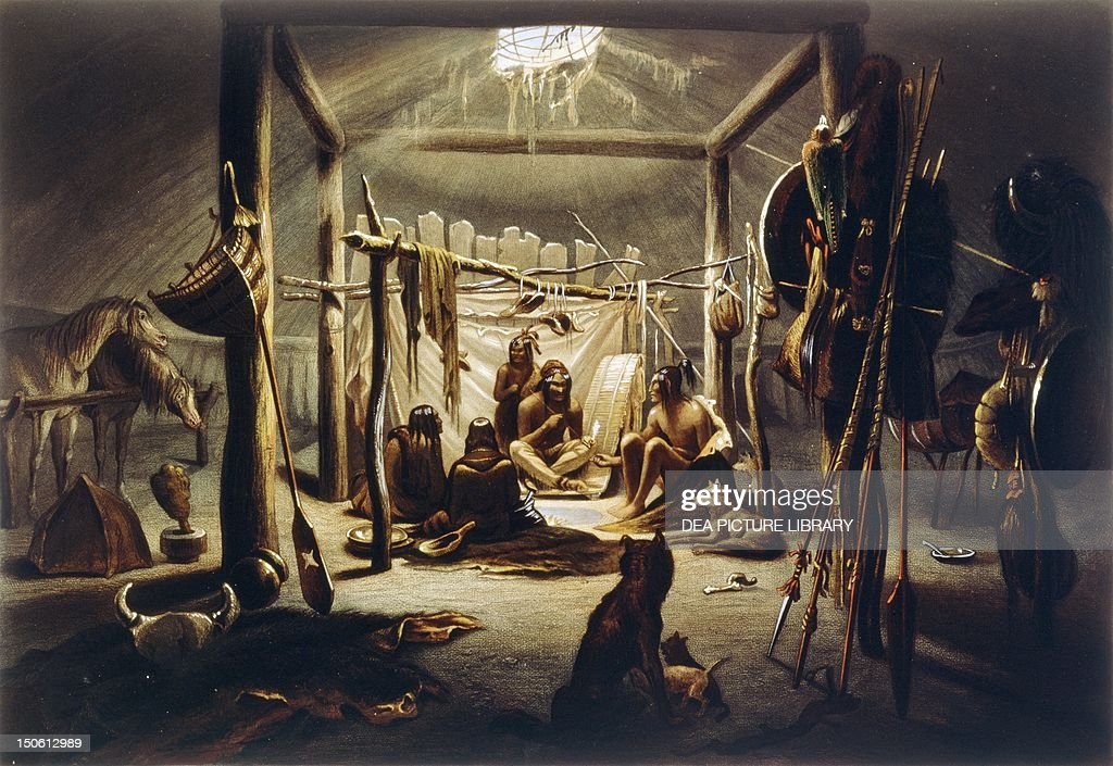 Mandan Native Americans meeting in a tent painting by Bodmer. Native American Civilization & Mandan Native Americans meeting in a tent Pictures | Getty Images