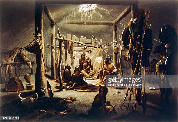 Mandan Native Americans meeting in a tent painting by Bodmer Native American Civilization United States 19th century