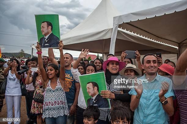 Mandaniresaka people welcome King of Morocco Mohammed VI during his official visit in Mandaniresaka of Antsirabe Madagaskar on November 23 2016