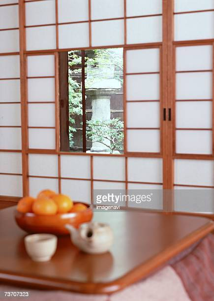 Mandarin oranges and table with heater