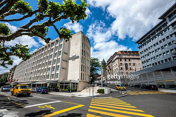 mandarin oriental hotel, geneva, switzerland - geneva switzerland stock pictures, royalty-free photos & images